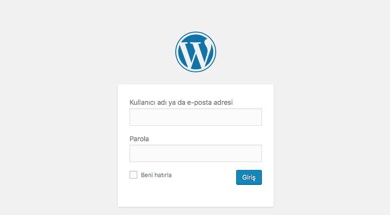 wordpress admin paneli giriş